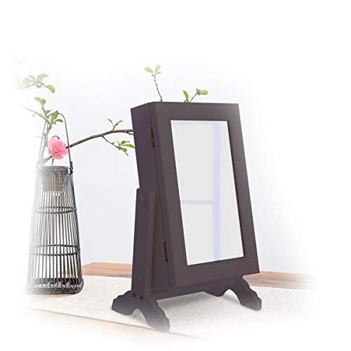 Kokos Sieradenkast Organizer Armoire Storage Box met plafondbevestiging & cosmeticaspiegel