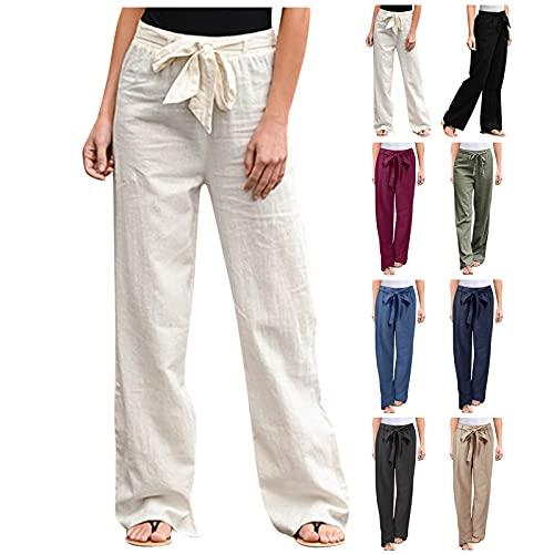 Womens Cotton Linen Long Pants, Plain Drawstring Elastic Waist Pants, Loose Casual Baggy Jogger Workout Trousers with Pockets(A#Beige,Large)