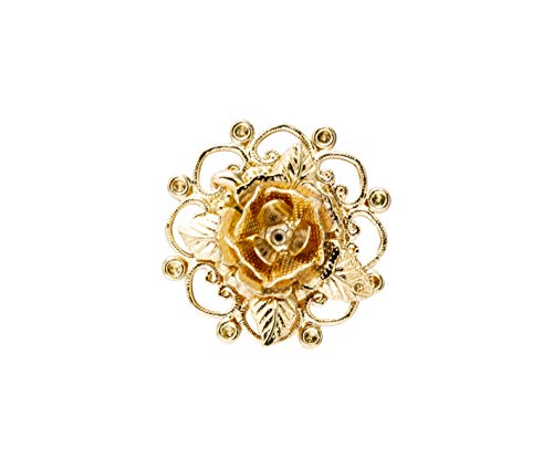 Knighthood Herren Metallic Gold Rose Blume mit graviertem Revers Pin Brosche Brosche/Reversnadel/Lapel Pin/Anzug/Sakko