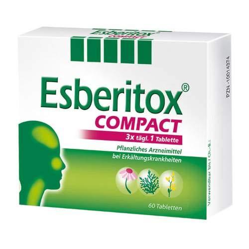 Esberitox Compact (to go) Spar Set: 2x60 St. verkürzt die Erkältung, mit drei pflanzlichen Extrakten Färberhülsenwurzelstock, Pupursonnenhutwurzel, Lebensbaumspitzen, 5 fach konzentrierte Heilkraft