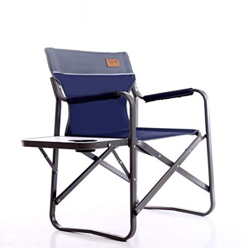 YLCJ Opvouwbare outdoor recreatieve campingstoel, stevige en robuuste stoel voor reissportregisseurs met tafel en handvat (marineblauw)