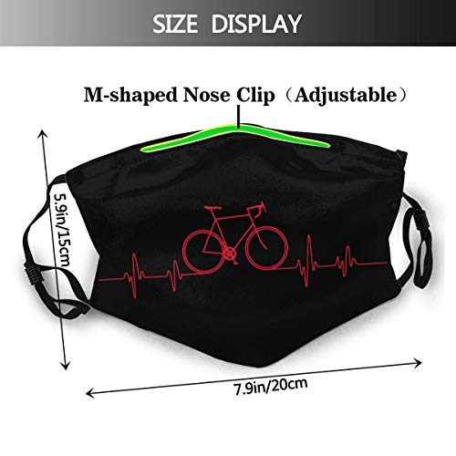 YnimioHOB UnisexNoseClipFaceMouthCover3DPrint,Bike Heartbeat Cycling Mountain Bike Unisex Dustproof Reusable Cloths FaceBandanasfor MenWomenTeens
