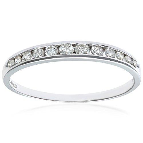 Naava Women's 9 ct White Gold 0.25 ct Diamond Channel Set Half Eternity Ring, Size J