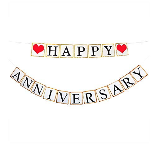 Happy Anniversary Banner, Wedding Anniversary Party Decorations Sign Photoprops Vintage Style Paper Garland