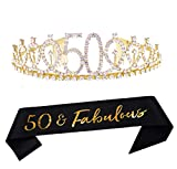 50th Gold Birthday Tiara and Sash Happy 50th Birthday Party Supplies 50 Fabulous Glitter Satin Sash and Crystal Tiara Princess Birthday Crown for Girls 50th Birthday Party Decorations Favors