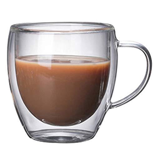 Kaffee- Teegläser Kaffeetasse Doppel Hitzebeständiges Glas Kreative Tee Tasse Isolierte Tasse Kaltes Getränk Milch Saft Tasse Becher (Color : Clear, Size : 8 * 9cm)