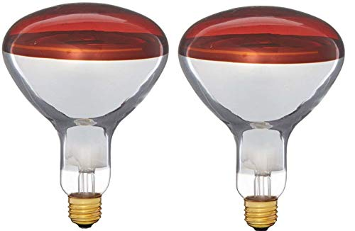 2 Pack 250 Watts R40 Red Heat lamp Light Bulbs Infrared Flood Reflector Incandescent Spotlight for Food Service, Brooder Bulb, Chicken, Pet, Bathroom, Light Therapy 250R40/HR Medium E26 Base