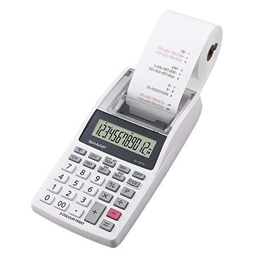 Sharp Druckender Mini-Tischrechner EL-1611V (12-stellige LCD-Anzeige, schwarz rote Druckfarben) grau