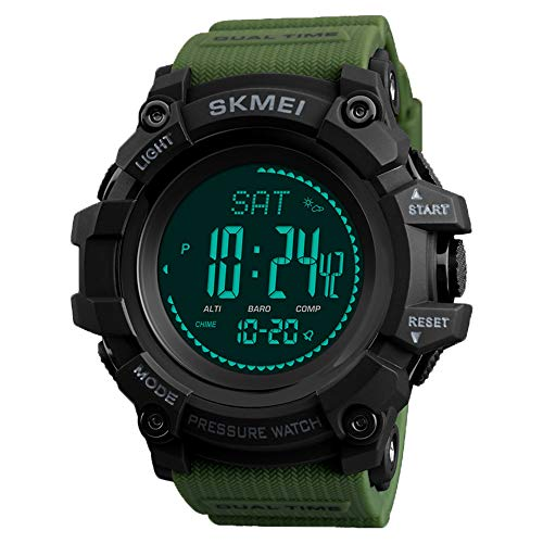 Watch Compass, Altimeter Barometer Thermometer Temperature, Pedometer Watch, Military Army...