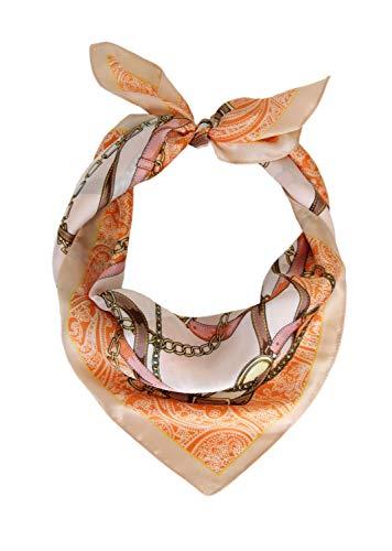 Irisaa Dames elegant vierkant sjaal doek zijde gevoel | halsdoek met motief kettingen en riemen | multifunctionele doek, 70x70 cm