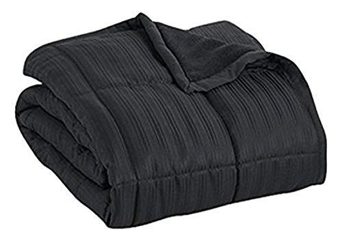 Aeolus Down 250 Thread Count Microfiber Down Alternative Throw Blanket, Black