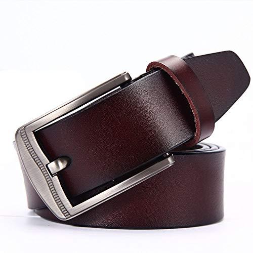 GJF Herrenmode-Gürtel, Neuer vielseitiger Leder-Gürtelschnallengürtel, geeignet für Anzüge, Abendkleider, Jeans, 3,8 cm breit, hochwertige Geschenkgürtel-brown-125cm