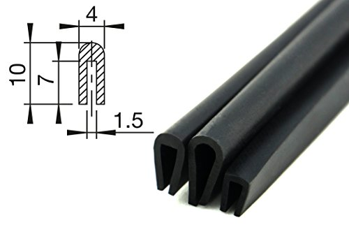 V1 - Fassungsprofil von SMI-Kantenschutzprofi aus EPDM-Zellkautschuk - Kantenschutz für Scheiben, Fenster, Blech u. v. m. - einfache Montage - Maße: 10x4 mm - Fassungsbereich 1,5 mm (1 m)
