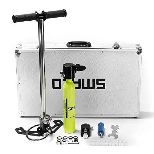 Cilindro de oxigeno para respirar 0.5L Mini equipo de buceo Cilindro de buceo Grupo de tanque de aire de reserva de oxígeno de buceo Conjunto portátil Boquilla submarina Para snorkeling, apnea y buceo