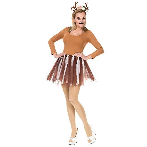 NET TOYS Encantador Set Disfraz Reno para Mujer - Marrón-Blanco - Extraordinaria Vestimenta Reno con tutú y Diadema con Cornamenta para Mujer Carnaval y Navidad