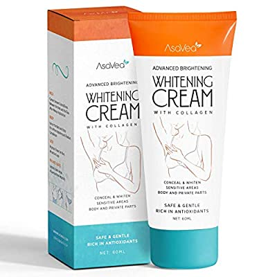 Whitening Cream for Armpits, Intimate Parts, Between Legs - with Collagen - Effective Lightening Cream - Brightens, Nourishes, Moisturizes Underarm, Neck, Knees, Elbows by AsaVea