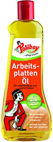 Poliboy - Arbeitsplatten Öl - für unbehandelte und geölte Hölzer - schützt vor Wasser und Schmutz - Einzeln - 500ml - Made in Germany