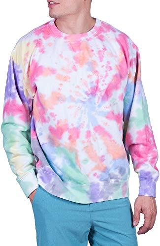 Visive Tie Dye Sweatshirt for Mens & Womens Long Sleeve Pullover Crewneck Sweater Multi Large