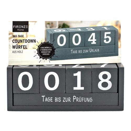 Countdown Würfel, Holz- Kalender, Dauerkalender