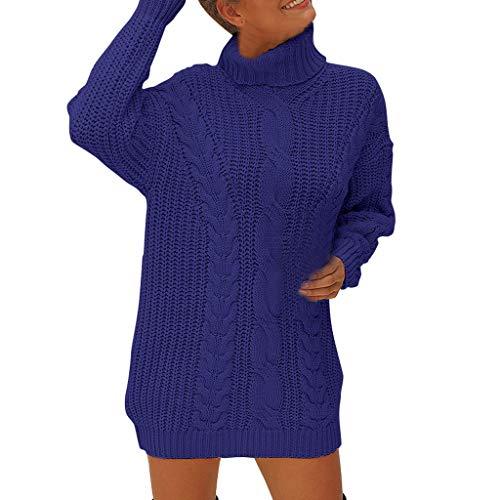 Blusa Casual de Punto sólido con Cuello de Tortuga de Manga Larga y Hueco para Mujer Azul Azul S
