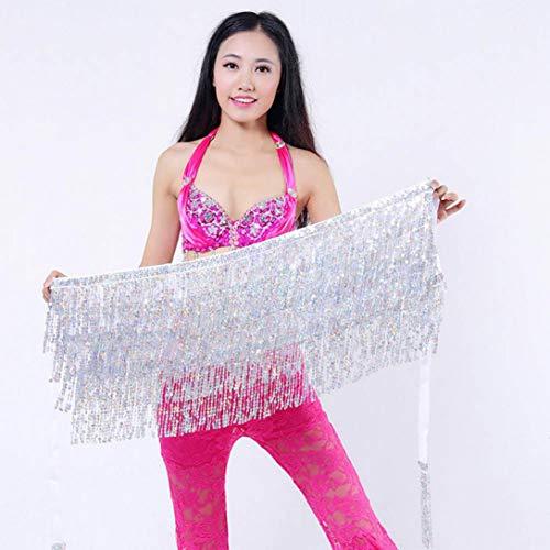 MuSheng(TM) Femmes Sequin Belly Dancer Costume Tassel Wrap Jupe Club Mini Jupe (Blnac)