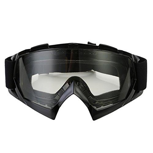 CICMOD Motorrad Brille Fahrerbrille Motocross Sport Kunststoff Brille Skibrille gegen Wind und Staub, Transparente Gläser und Schwarz Rahmen