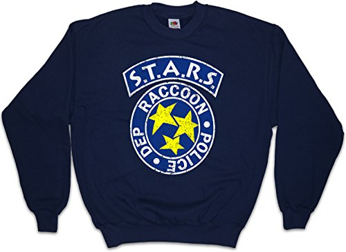 Urban Backwoods Vintage S.T.A.R.S. Logo Sweatshirt Pullover Blau Größe L