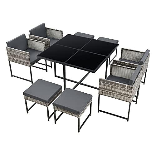 [en.casa] Set Mobili da Giardino Set Salottino Salvaspazio Composto di 1 Tavolo con Piano in Vetro, 4 Poltrone e 4 Pouf Arredo in Polyrattan per Uso Esterno con Cuscini - Grigio
