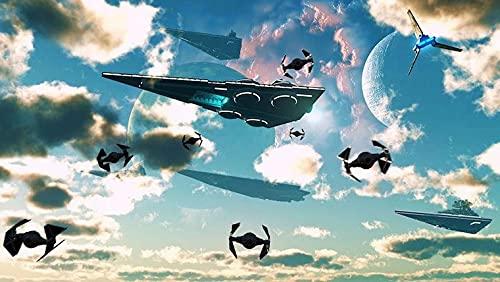 WMYZSHDWZ Pintura por Números La Guerra de Las Galaxias Battleship Aircraft Cielo para Adultos y niños Pintar 40X50CM DIY al óleo de Bricolaje con Marco Personalizado Kit Pinceles Principiantes