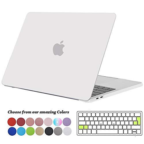 TECOOL MacBook Pro 13 Hülle Case 2019/2018/ 2017/2016, Plastik Hartschale Tasche + EU Tastaturabdeckung für MacBook Pro 13 Zoll mit/ohne Touch Bar (Modell: A2159/ A1989/ A1706/ A1708), Frost