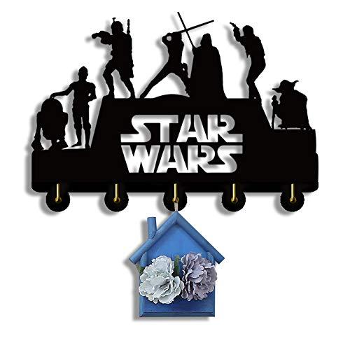 Star Wars Key Hooks, Key Hanger, Wall Key Rack, Wall Key Hooks, Key Hooks, Personalized Gift, Home, Housewarming Gift, Wedding Gift (H5) Black 12inch Wish 5 Hooks
