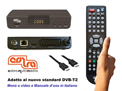 DECODER COBRA DIGITALE TERRESTRE mod. DINGO, FULL HD, PVR, DVB-T2, H.265/HEVC, MEDIAPLAYER, Cavo HDMI, VIDEO-REGISTRAZIONE, Telecomando con Autoapprendimento