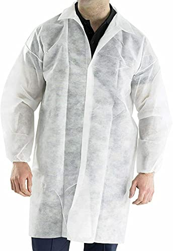 MEDICAL NATION Case of 30 Disposable White Lab Coats, Polypropylene, Latex-Free, Anti-Static, Easy Breathe, Unisex, Protective Coats with Long Sleeves, Collar, Elastic Cuffs, and Snaps (Medium)