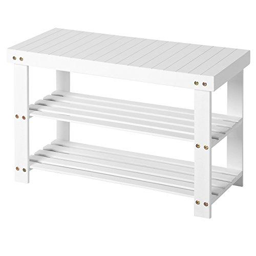 SONGMICS Schuhbank aus Bambus, Schuhregal, Schuhschrank mit Sitzbank, 70 x 28 x 45 cm, ideal für...