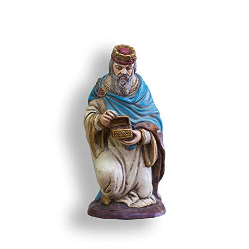 Belén con 8 Figuras (Nacimiento + Reyes), marmolina, Pintado a Mano. 17cm Altura