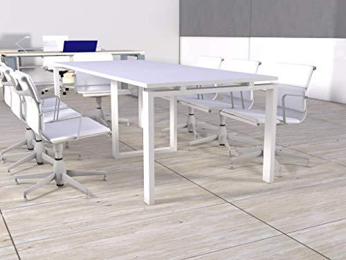 Mesa de reunión de marco abierto de 240cm x 100cm en color del tablero blanco, color estructura blanco, entrega de 3 a 5 días hábiles.