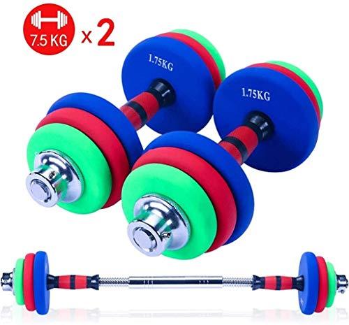 YZPDSKJ Gummi Fitness Hantel-Set, einstellbares Gewicht for Jede Art Training, mit PLEUELSTANGE Kann Als Barbell verwendet Werden 20 kg / 44 lbs (Paar), for Body Workout Home Gym (Farbe : 7.5kgx2)