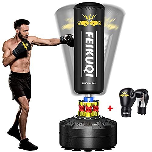 FEIKUQI Boxsack freistehend 70 Zoll -205 Pfund mit Boxhandschuhen Schwerer Boxsack mit Saugnapfboden für Erwachsene, Jugendliche und Kinder-Homeoffice Herren Stehender Kickboxsack