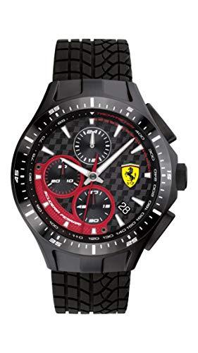 Ferrari - Reloj de cuarzo para hombre, de acero inoxidable, con correa de silicona, color negro, 22 (modelo: 0830696)