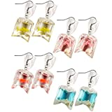 4 Pairs Funny Acrylic Goldfish and Starfish Earrings, Water Bag Shape Dangle Hook Earrings for Girls Women (Style1)