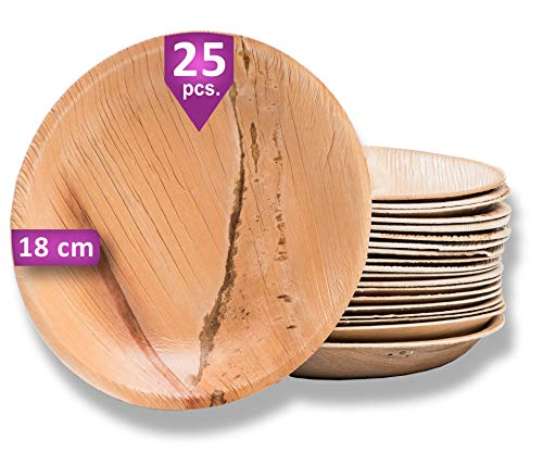 Waipur Platos Hoja de Palma Orgánicos – 25 Platos Desechables Redondos Ø 18 cm - Vajilla Ecológica de Lujo, Estable, Natural y Biodegradable - Platos de Fiesta – como Platos de Papel