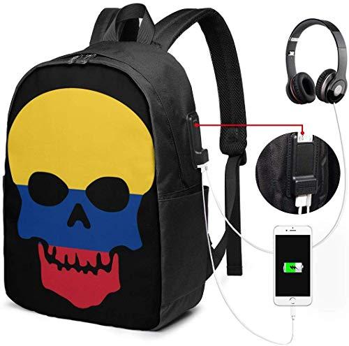 Mochila con interfaz USB Skull Skeleton Colombia Flags of Countries Waterproof Laptop