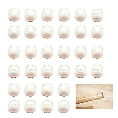 Lezed almohadilla de silicona para muebles sillas Tapas para Las Piernas de la Silla Protectores de Piso para Pata de Silla para el Suelo Silla para el Suelo Patas Redondas 32 Piezas (17-21mm)