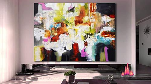 OCWTCH Handgemalte abstrakte Malerei rosa rot blau Gemälde große abstrakte Malerei rot blau feine Kunst lila Gemälde 60x90cm24x36Zoll weiß