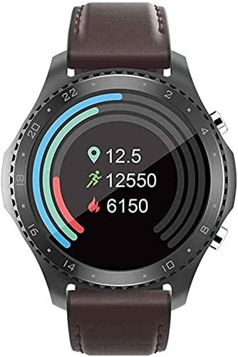 YLB Männer S und Frauen S intelligente Uhr Wasserdichte Tracker 1 28 Zoll Wasserdichte Fitness Armband Multi-Sport-Modus Bluetooth 5 0 Kompatibel mit Android ios ( Color : Black Shell+Coffee Ribbon )
