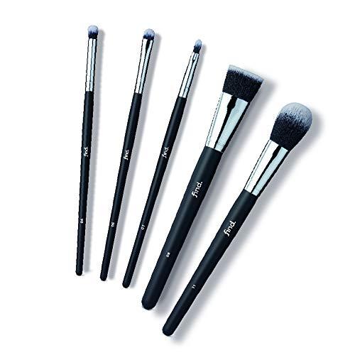 FIND - Kit de iniciación - Pincel para sombras, de difuminado, de labios, para base de maquillaje y para colorete (5 pinceles) - n.º 04, n.º 06, n.º 07, n.º 08, n.º 11
