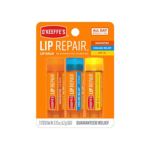 OKeeffes Lip Repair Lip Balm for Dry, Cracked Lips, Stick (Pack of 3: 1 Cooling + 1 Unscented + 1 SPF)