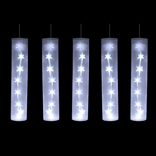 Autour de Minuit 5EIN635BC Lot de 5 Tubes étoiles LED, Plastique, Blanc, 8 x 8 x 35 cm