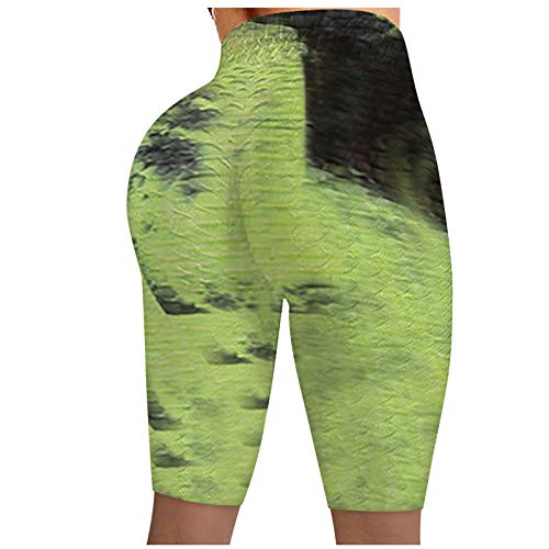 Damen Fitness Shorts Sport Leggings Tie Dye Sternenhimmel Muster Yoga Sporthose Scrunch Butt Push Up Sport Kurze Hose Up up Booty High Waist Trainingshose Hot Pants