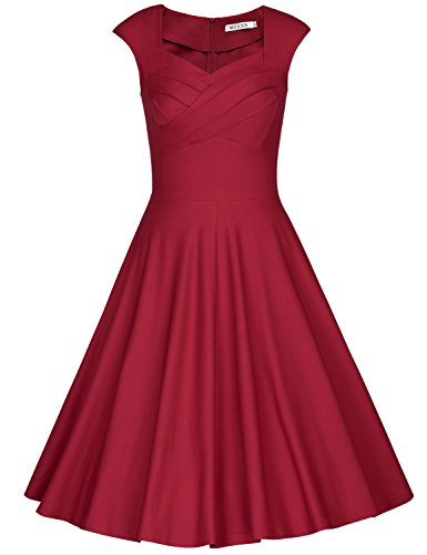 MUXXN Women's 1950s Vintage Retro Capshoulder Party Swing Dress (S, Burgundy)